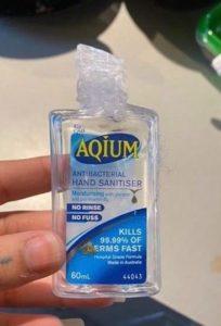 Chewed hand sanitiser bottle